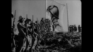italian troops in ethipioa with mussolini flag